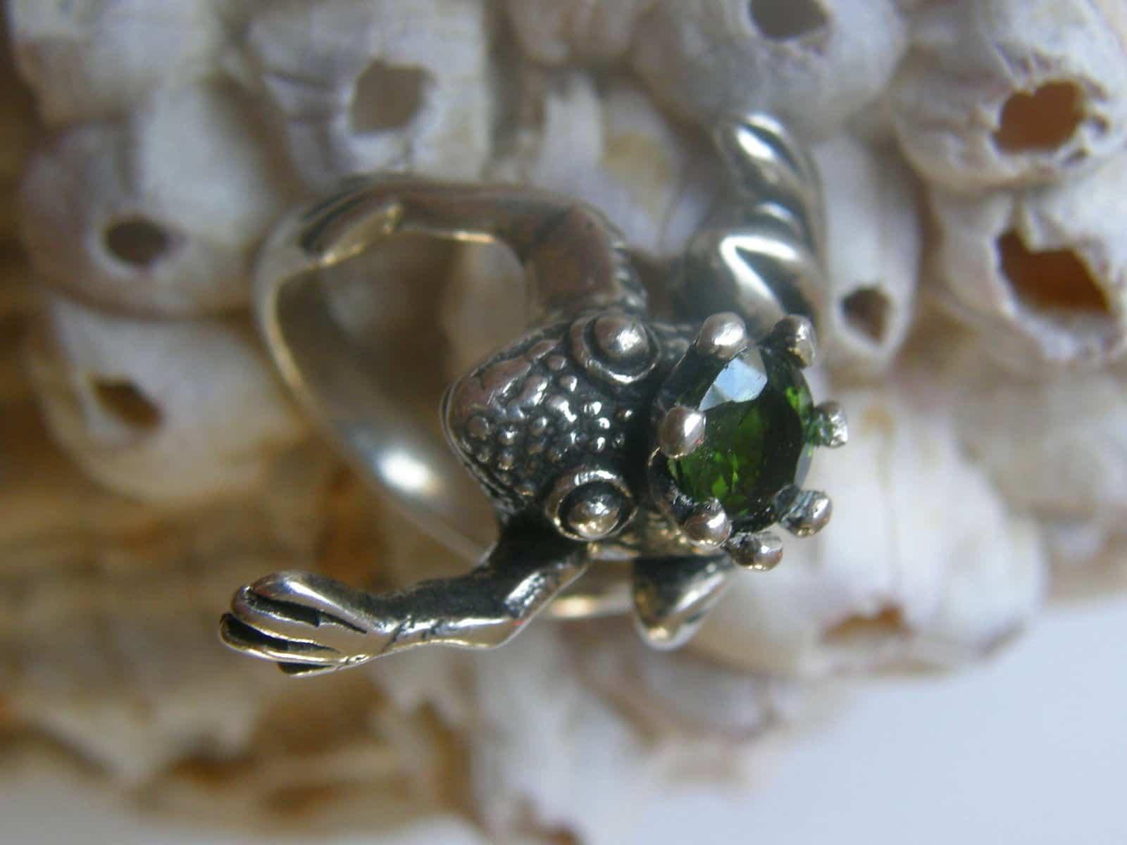 Froschkönig Frosch Ring Silber 925 grüner echter Zirkon
