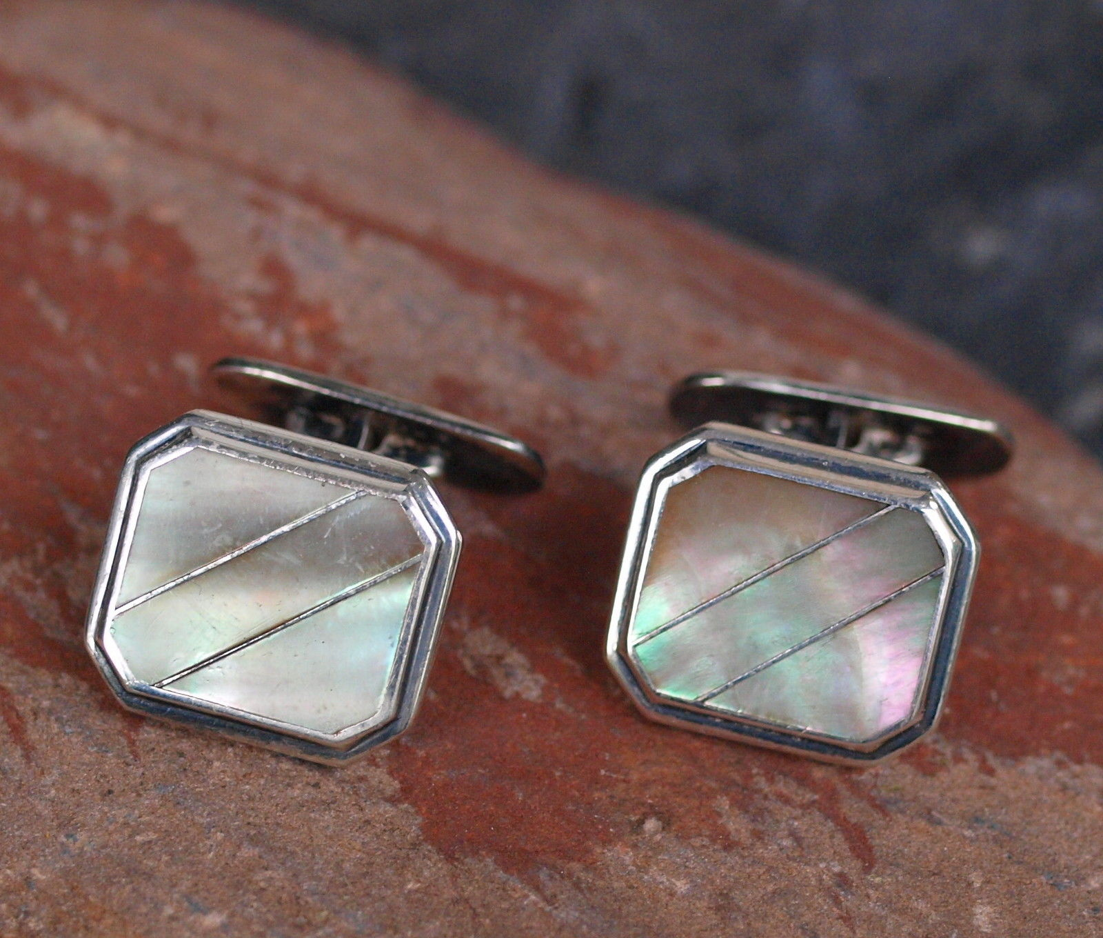 Manschettenknöpfe Antik Silber 835 Perlmutt Leguan Schmuck Design
