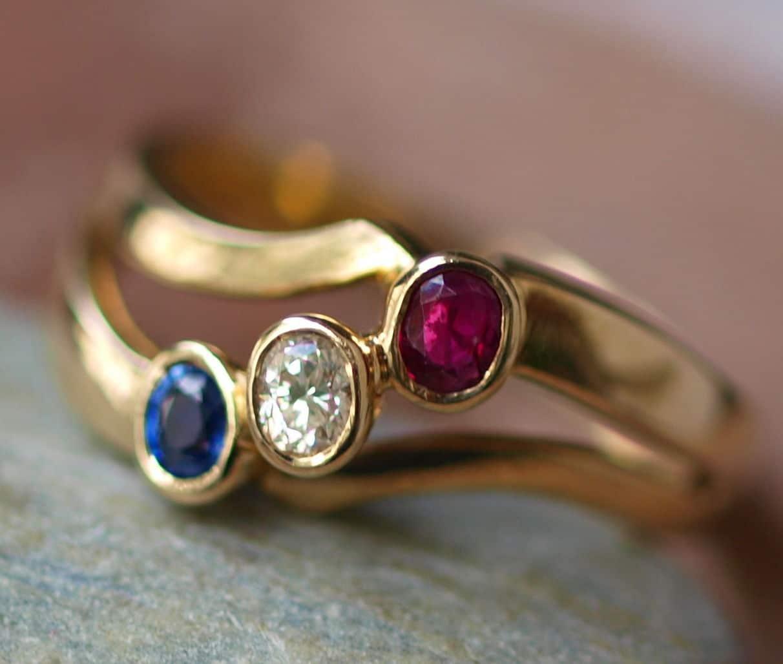 Ring antik Gold 585 Gelbgold mit Rubin Diamant Saphir