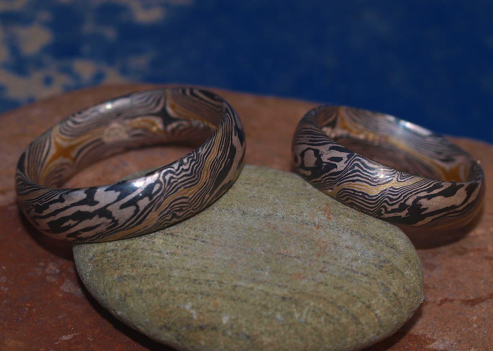 Trauringe Mokume Gane Gold 900 Palladium 500 Silber 925 33 Schichten