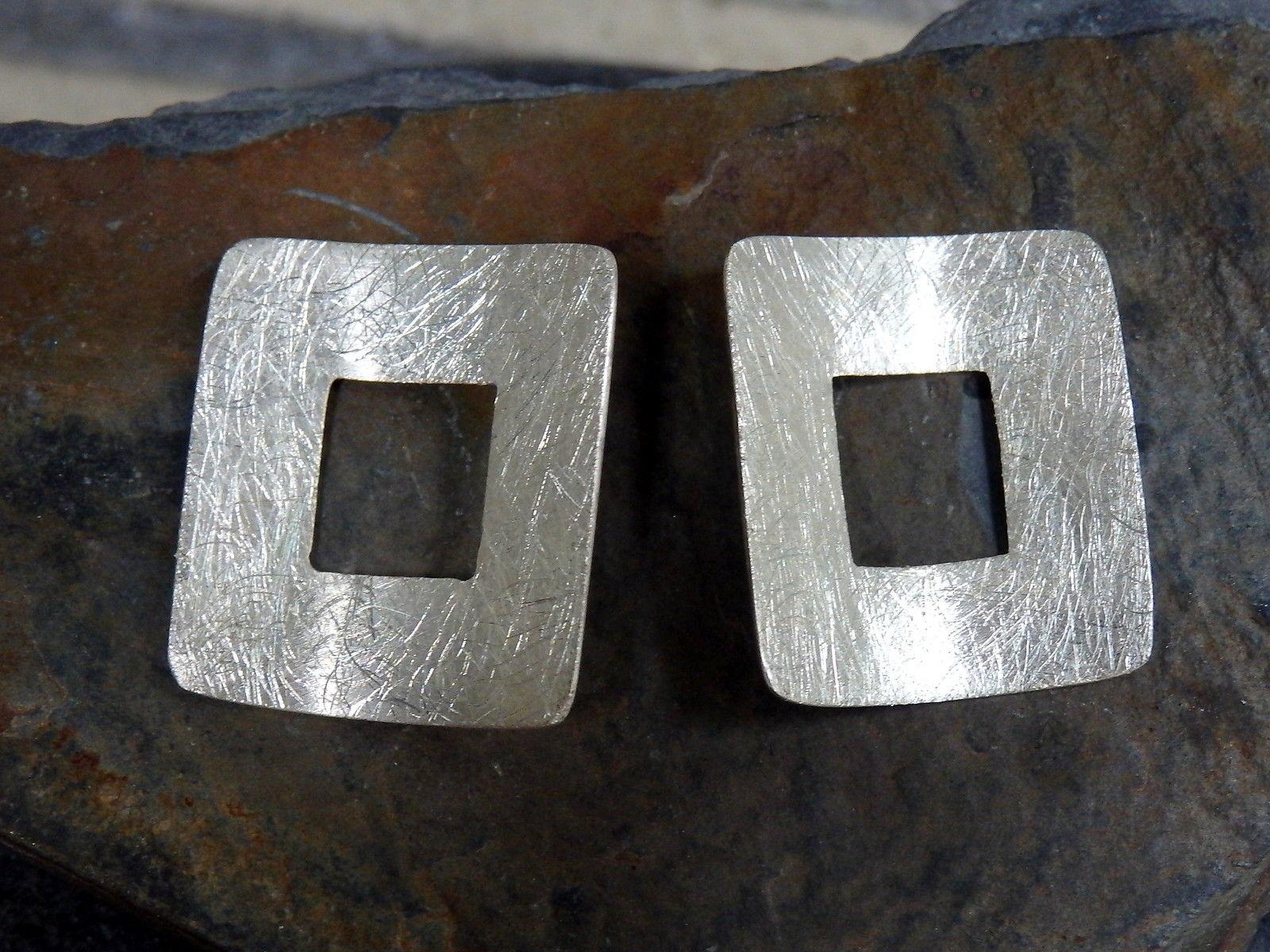 Unikat Ohrschmuck Ohrstecker Silber 925 Quadrat eismattiert