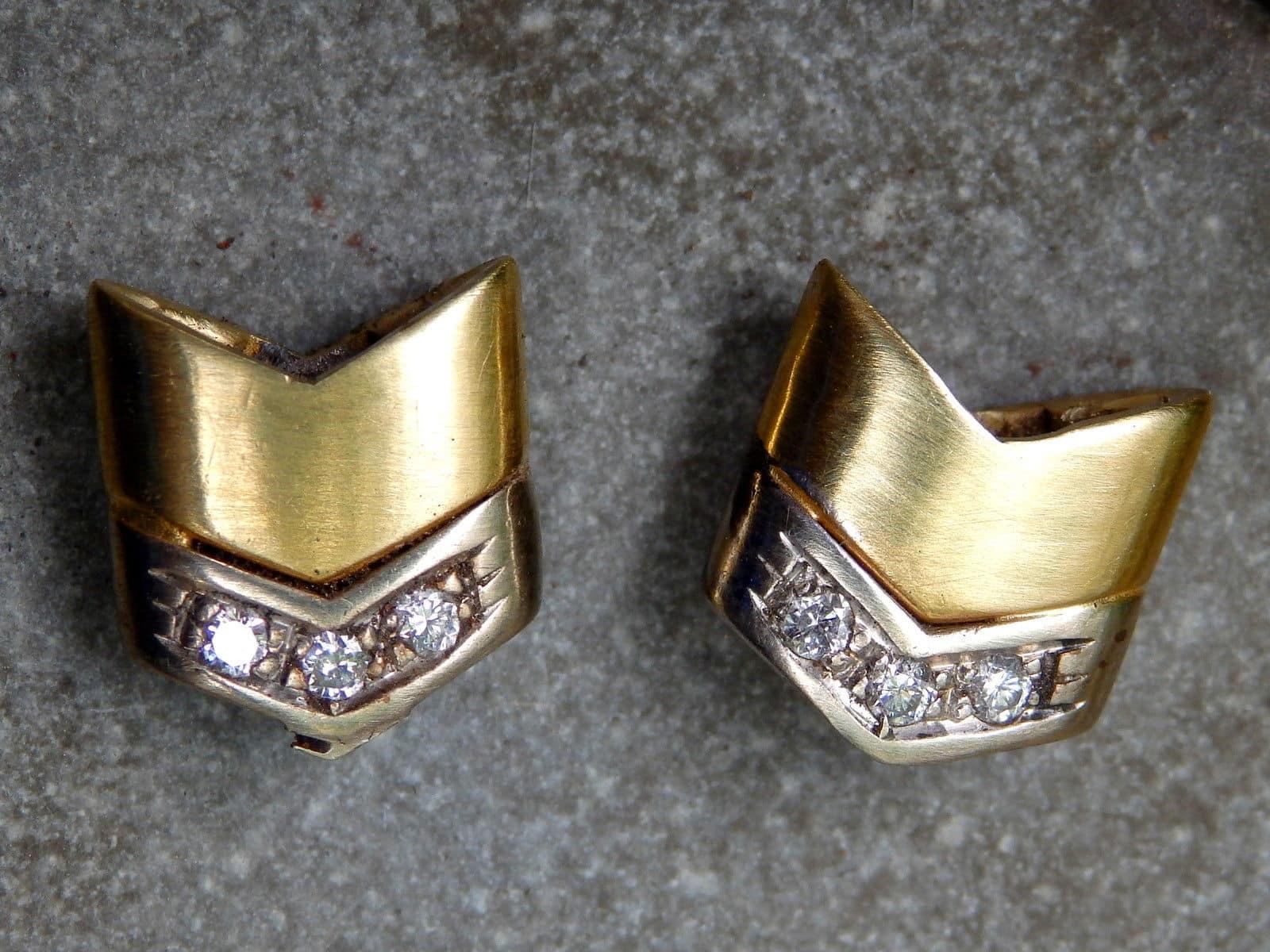 Unikat Ohrstecker Gold 750 Weissgold 750 Brillant