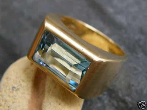 Unikat Ring Gold 750 Blautopas blauer Topas 52