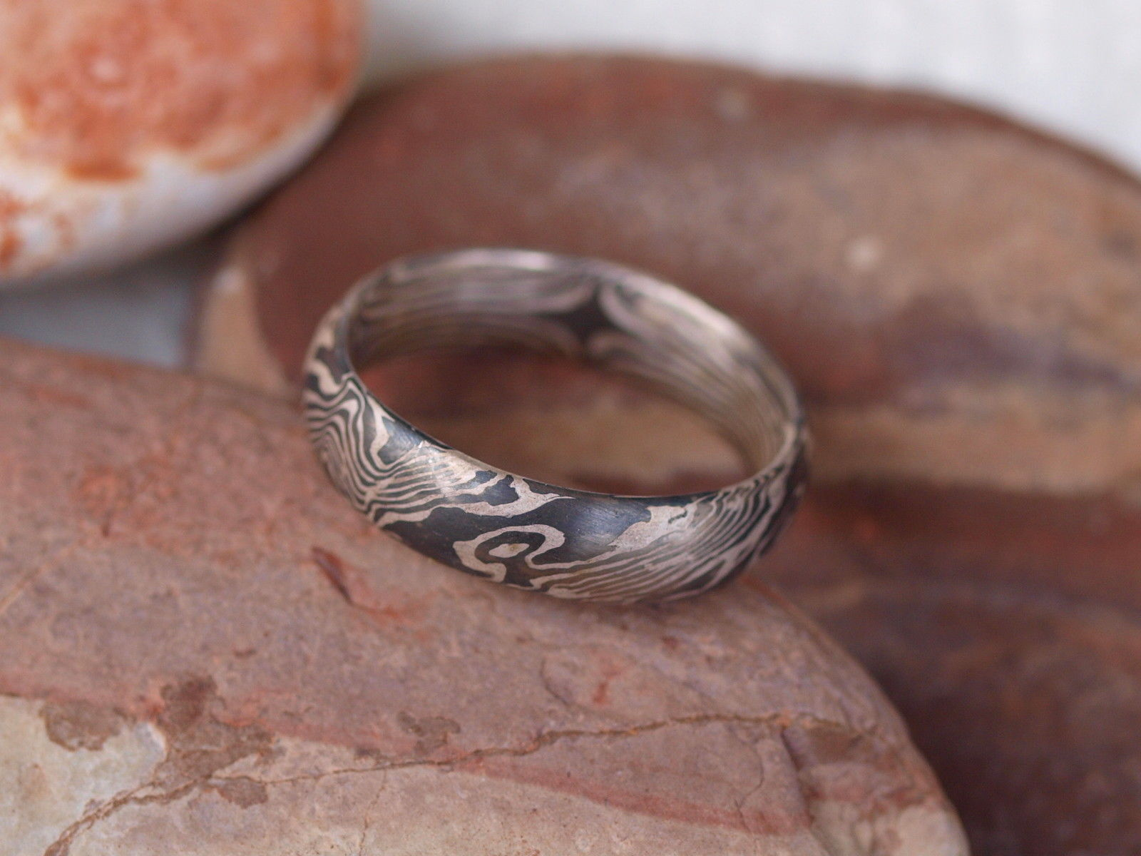 Unikat Ring Mokume gane Palladium 500 Silber 925 Holzmaserung mit Augen