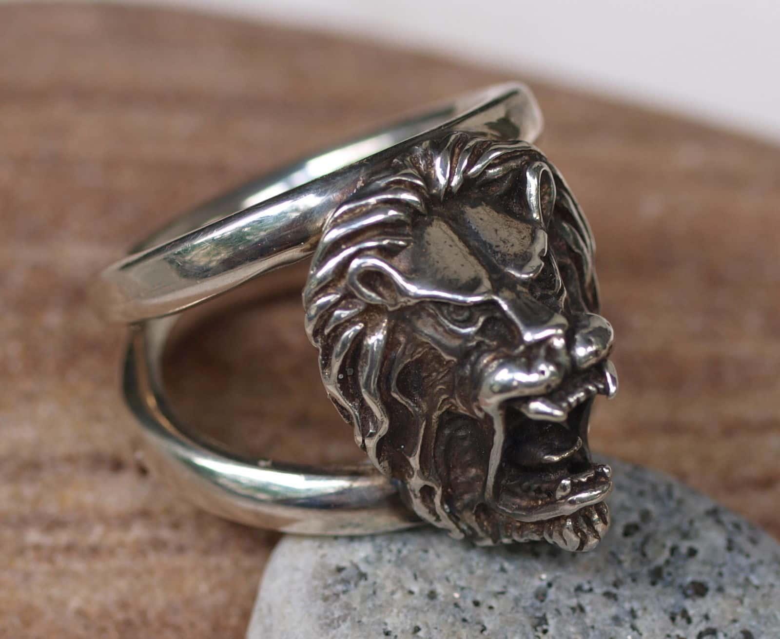Designer Ring Silber 925 Löwenkopf Löwe Lion Größe 69