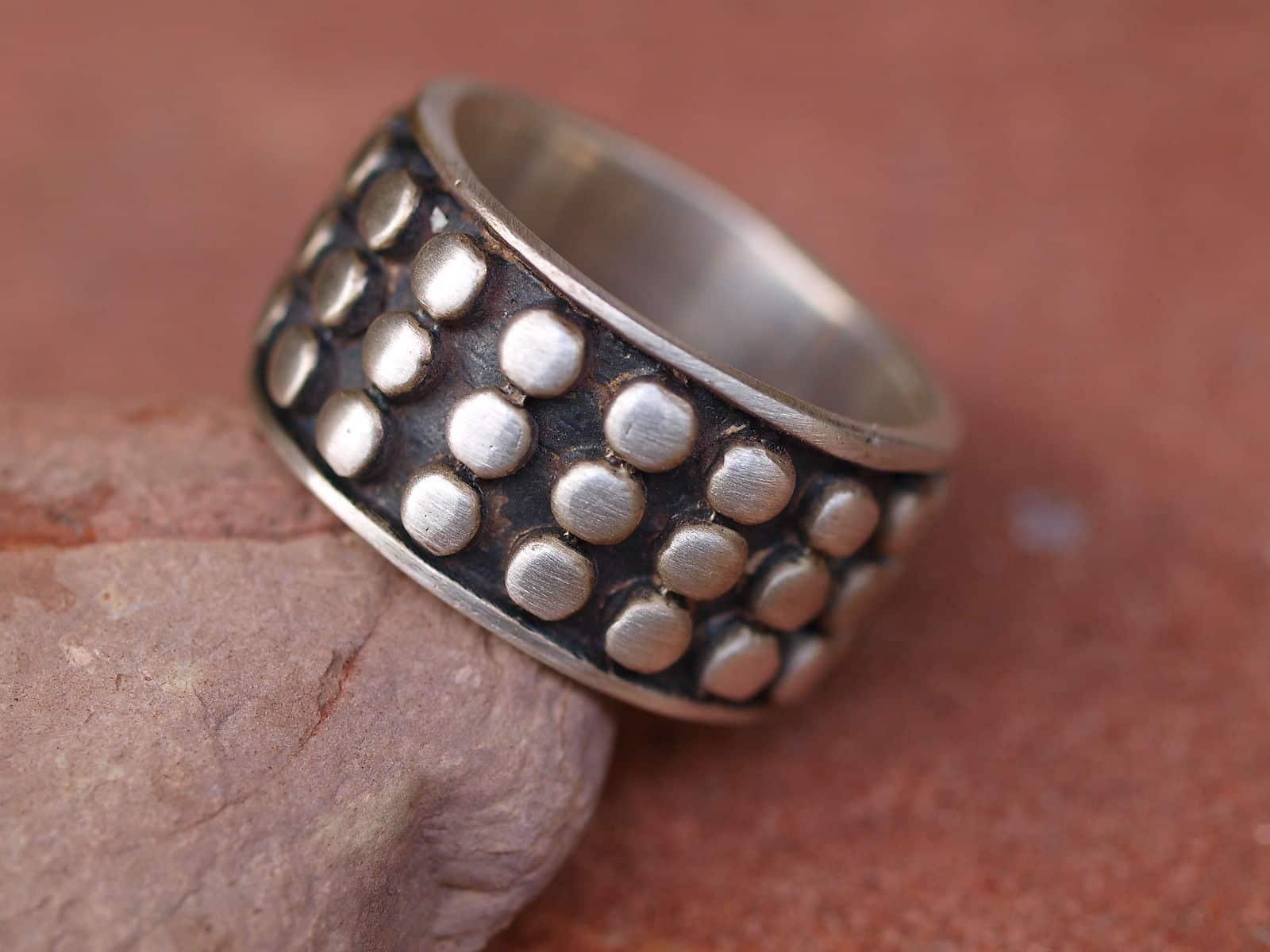 Designer Ring Silber 925 Nietenring Knubbelring tlw. geschwärzt Kreise