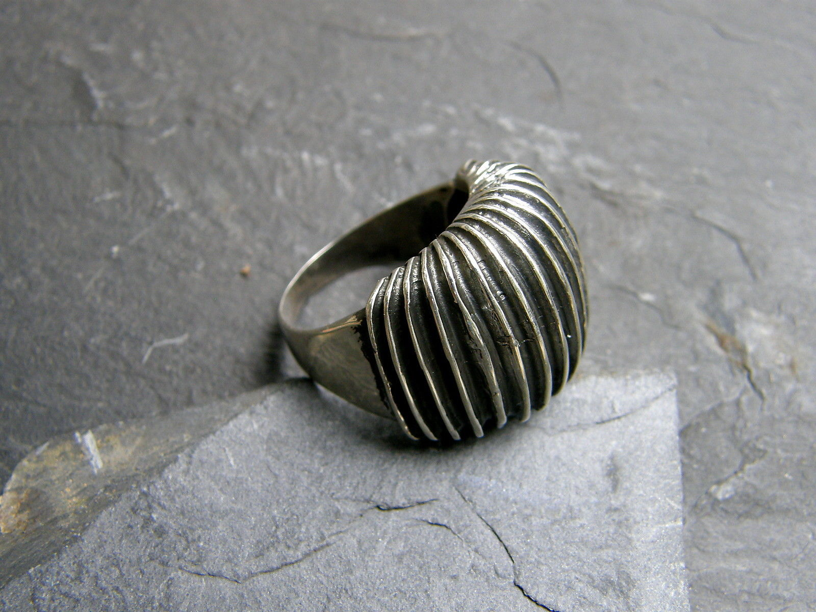 Designer Ring Silber 925 gerippt tlw. geschwärzt