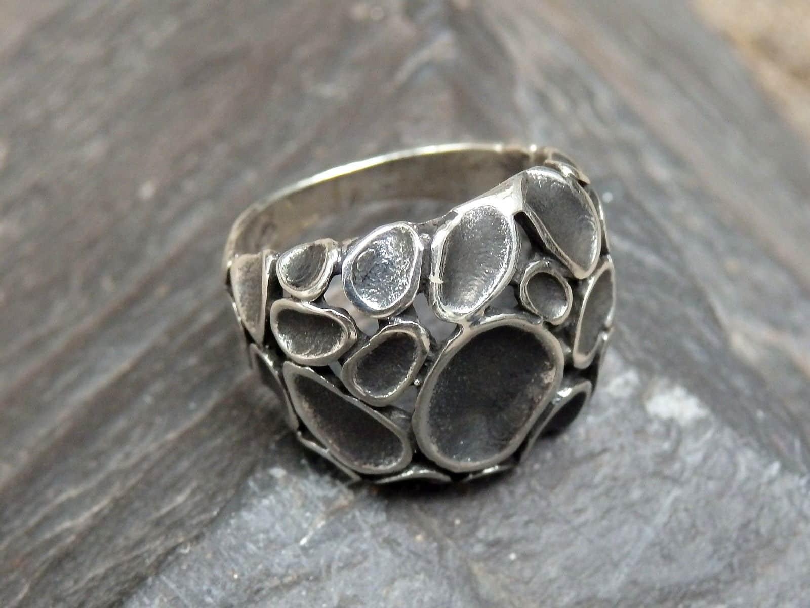 Designer Ring Silber 925 geschwärzt 55