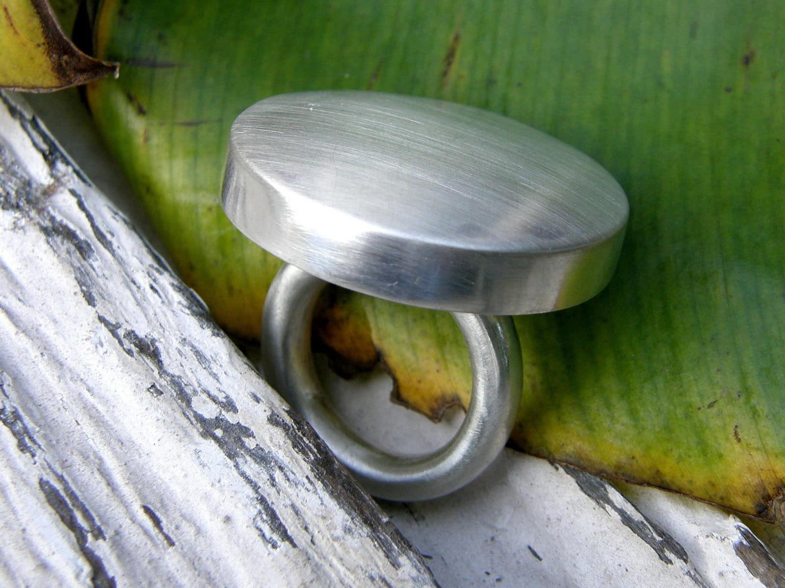 Designer Ring Silber 925 mattiert Kreis matt 52