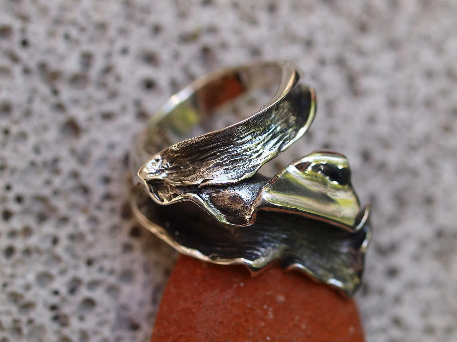 Designer Ring Silber 925 organische Form gefaltet gewickelt tlw. geschwärzt