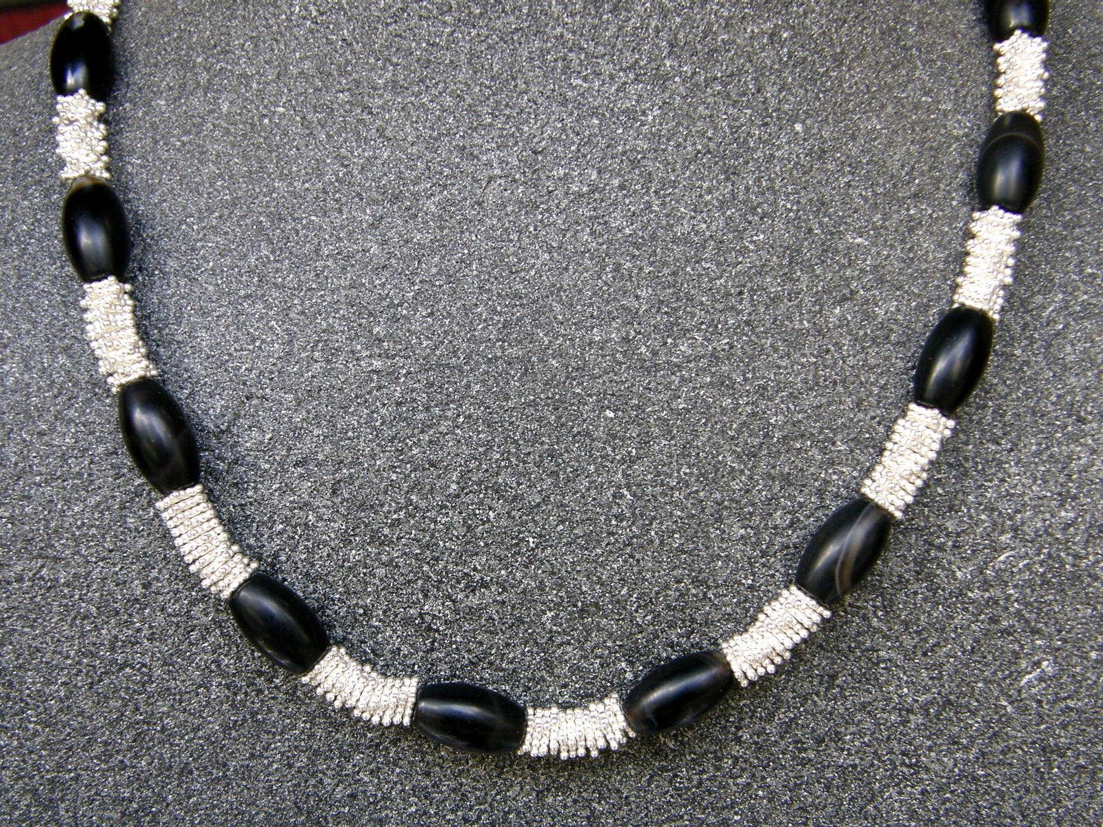 Leguan Kette Silber 925 Onix Onyx Designverschluss granuliert