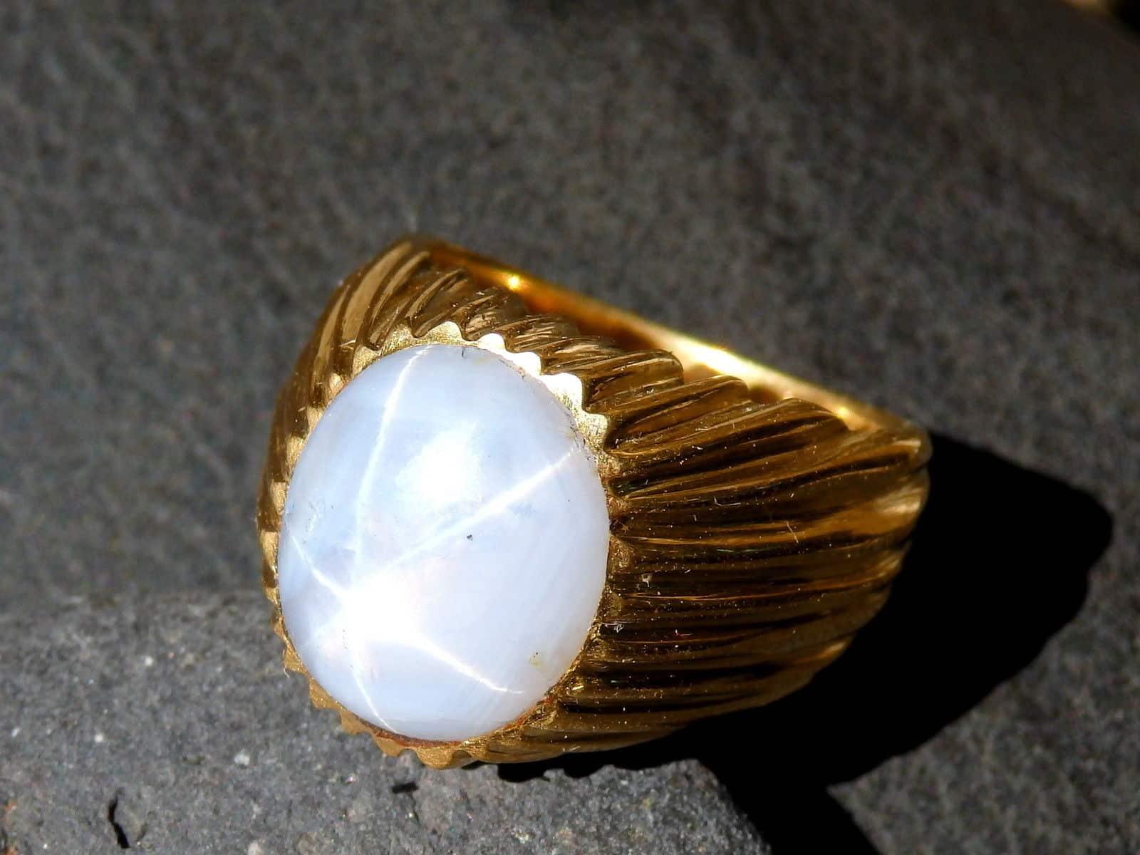Ring Gold 750 Stern - Saphir 11,4 ct gerippt Unikat