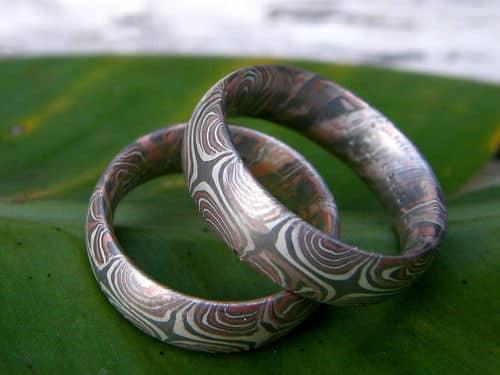 Trauringe Mokume Gane Rotgold 585 Palladium 500 Silber