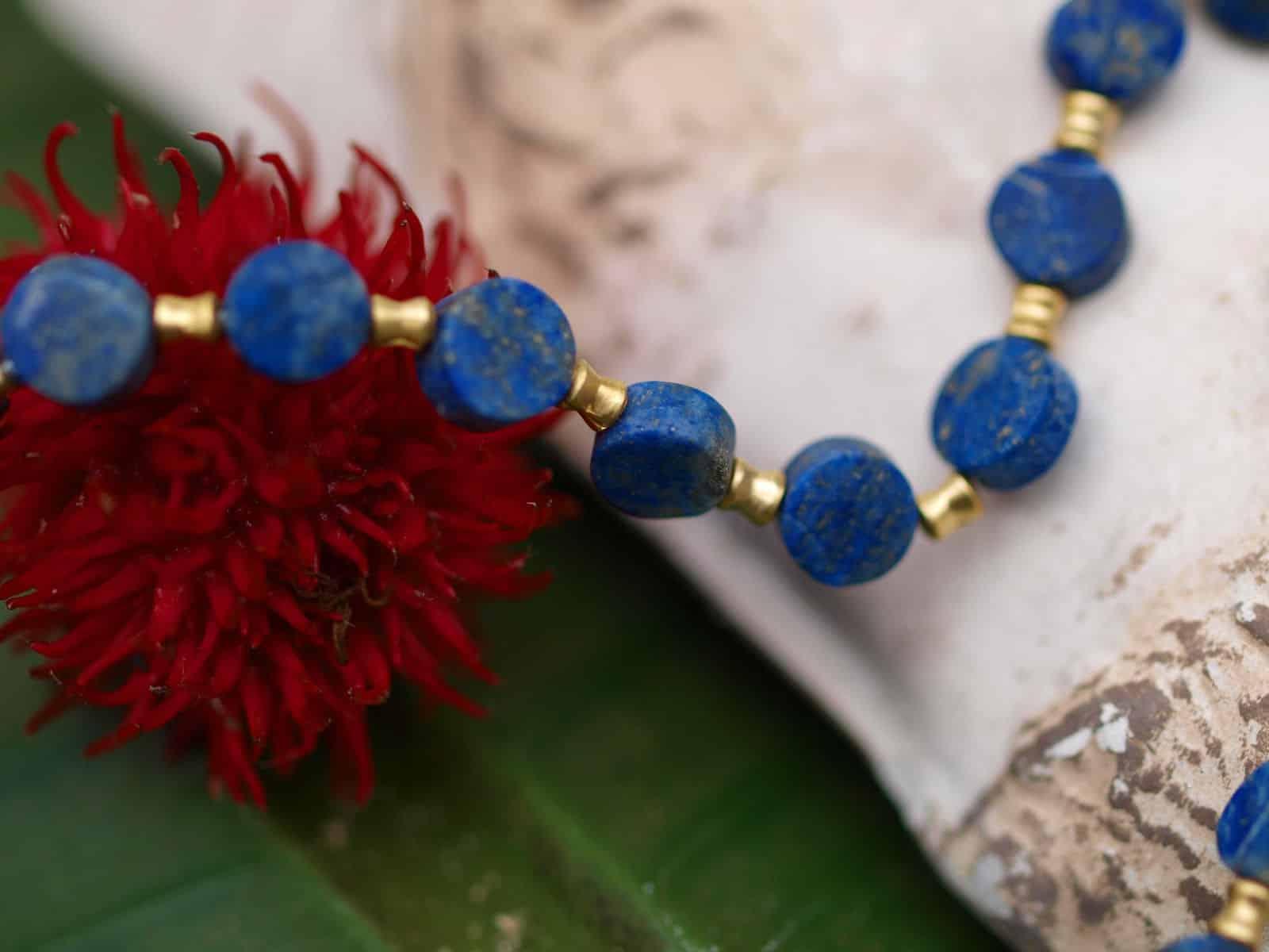 Unikat Kette Silber 925 tlw. vergoldet Lapis Lazuli Scheiben Doppelkegel zart