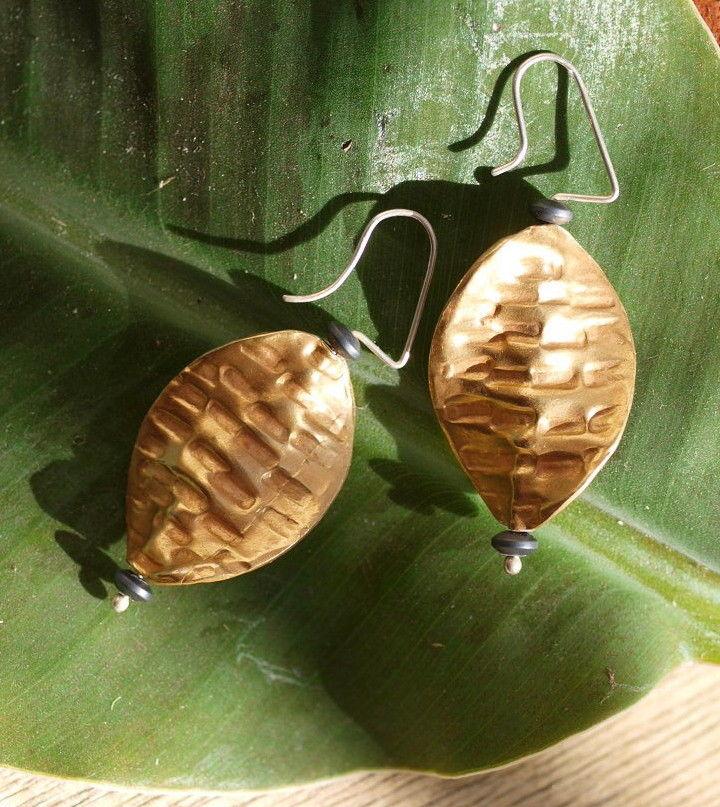 Unikat Ohrschmuck Ohrring Silber 925 tlw vergoldet Hämatit Ohrhänger Blatt