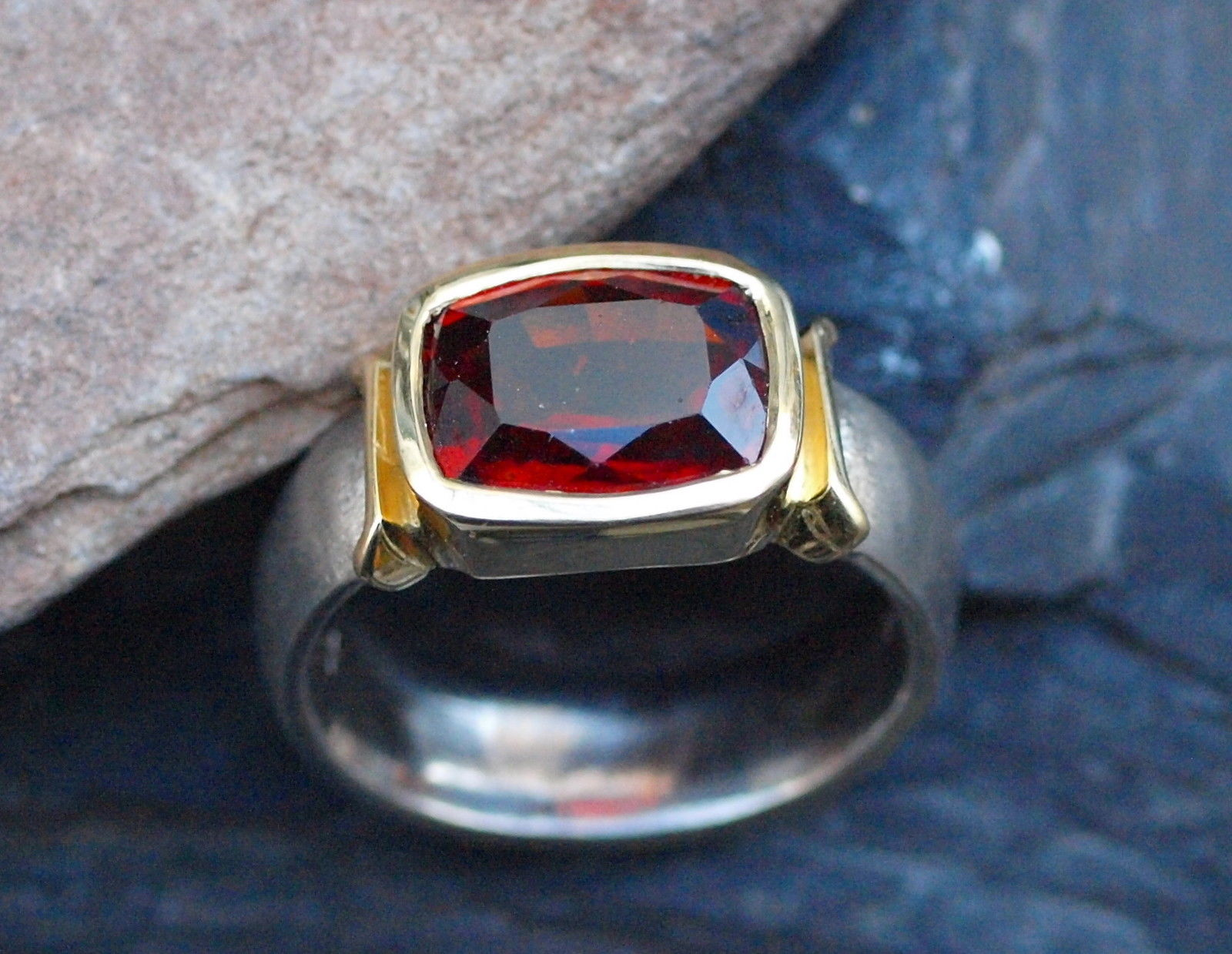 Unikat Ring Weißgold Weissgold 585 Gold 750 Granat Hessonit 5,6 ct