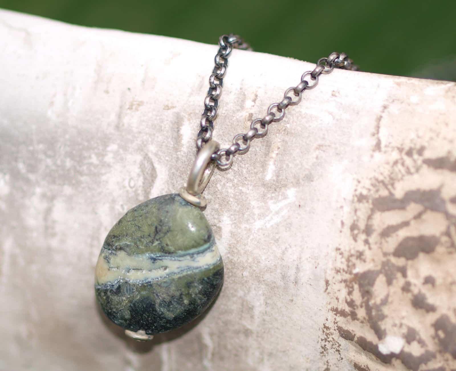 Designer Kette Silber 925 mit Serpentin an Erbskette beweglich tlw geschwärzt