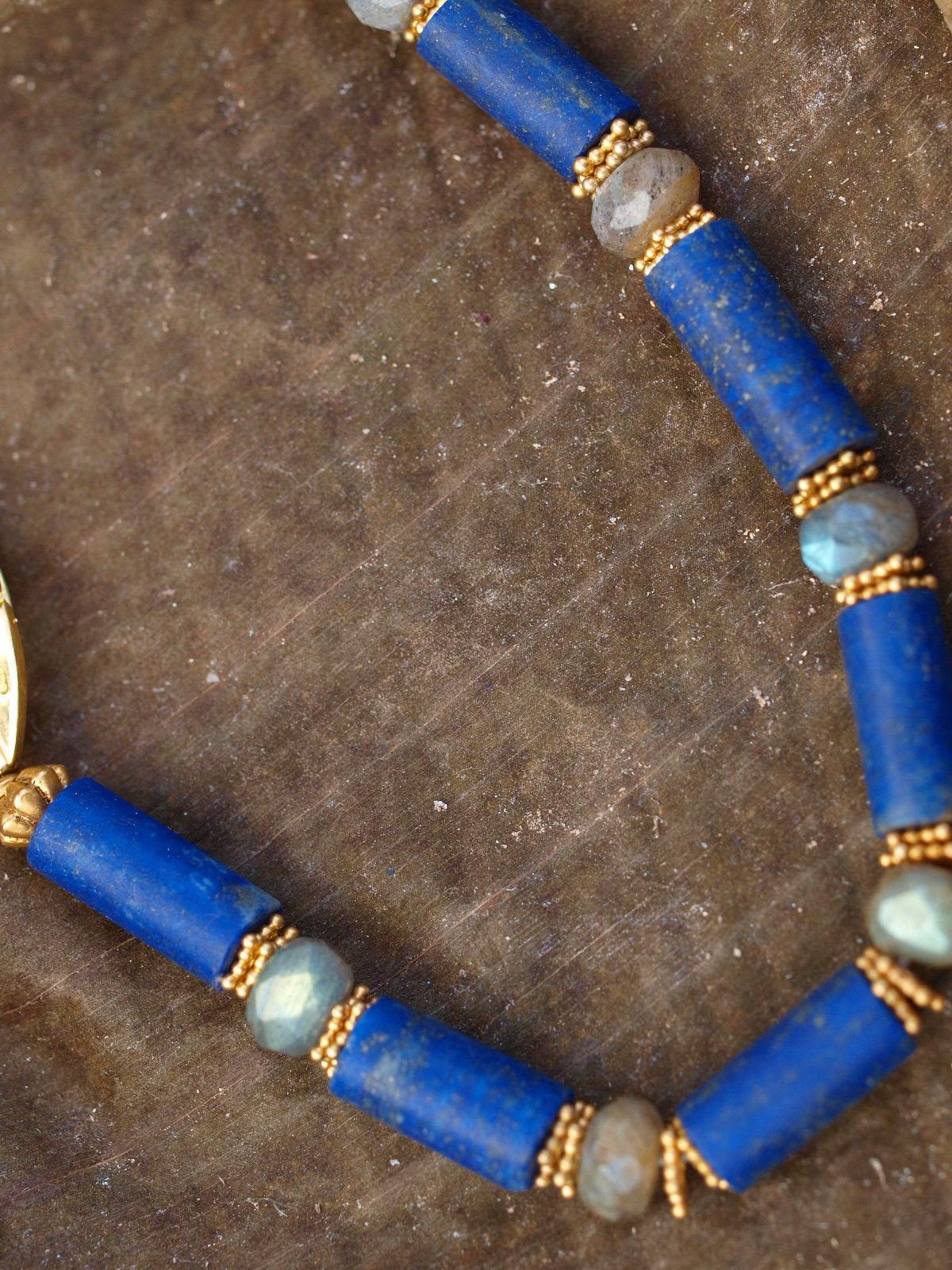 Designer Kette Silber 925 vergoldet Lapis Lazuli Labradorit facettiert