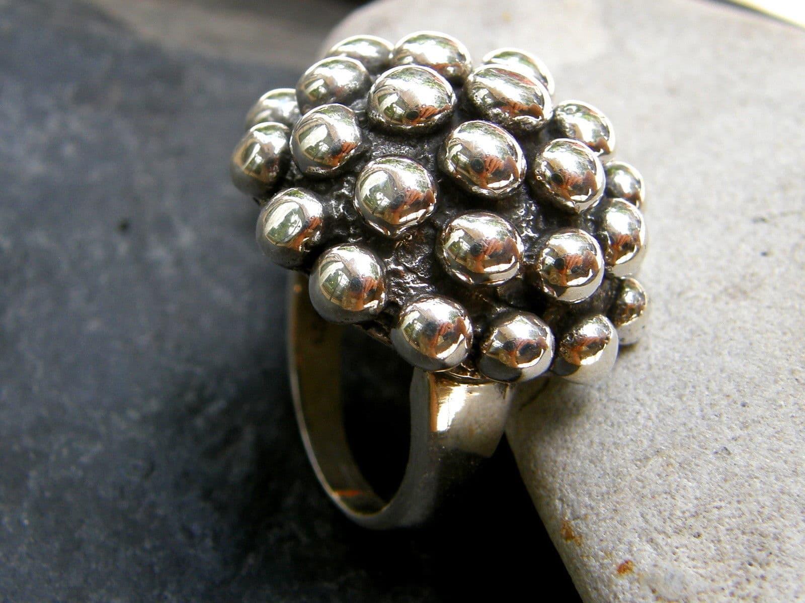 Designer Ring Silber 925 massiv tlw. geschwärzt Kugeln belötet