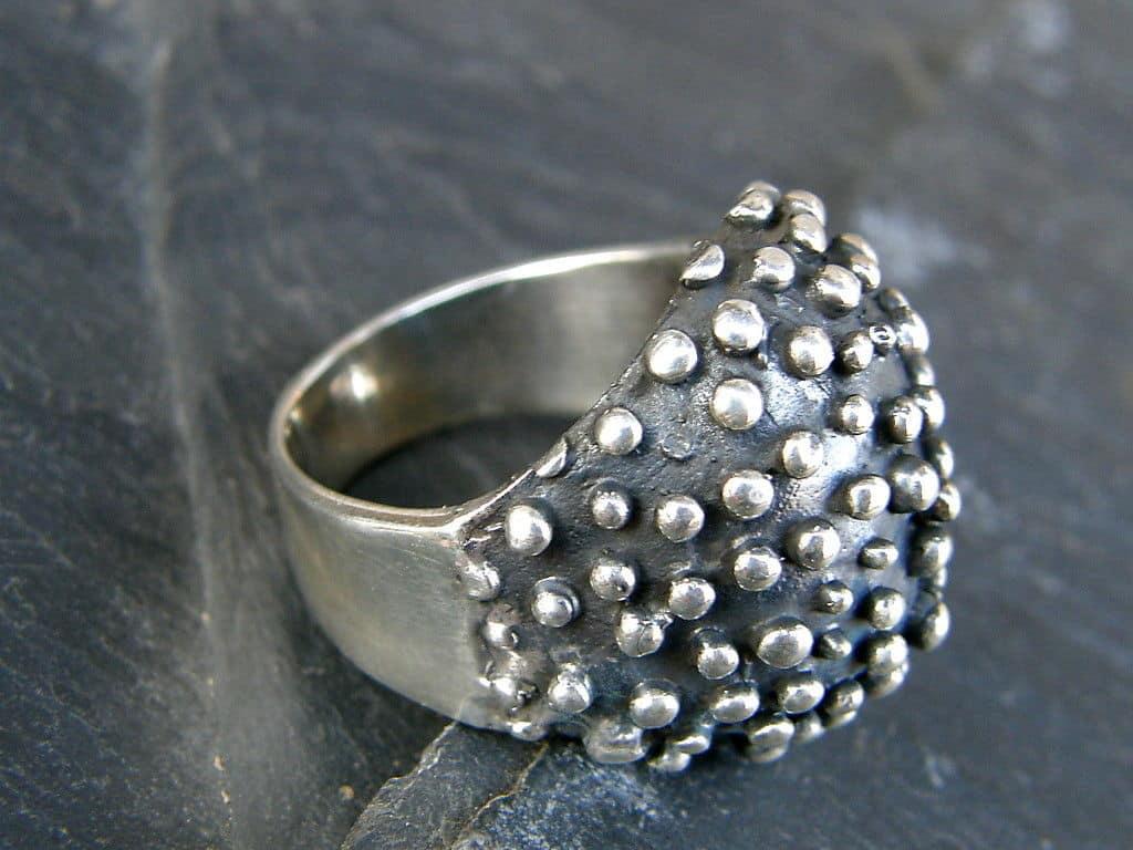 Designer Ring Silber 925 massiv tlw. geschwärzt
