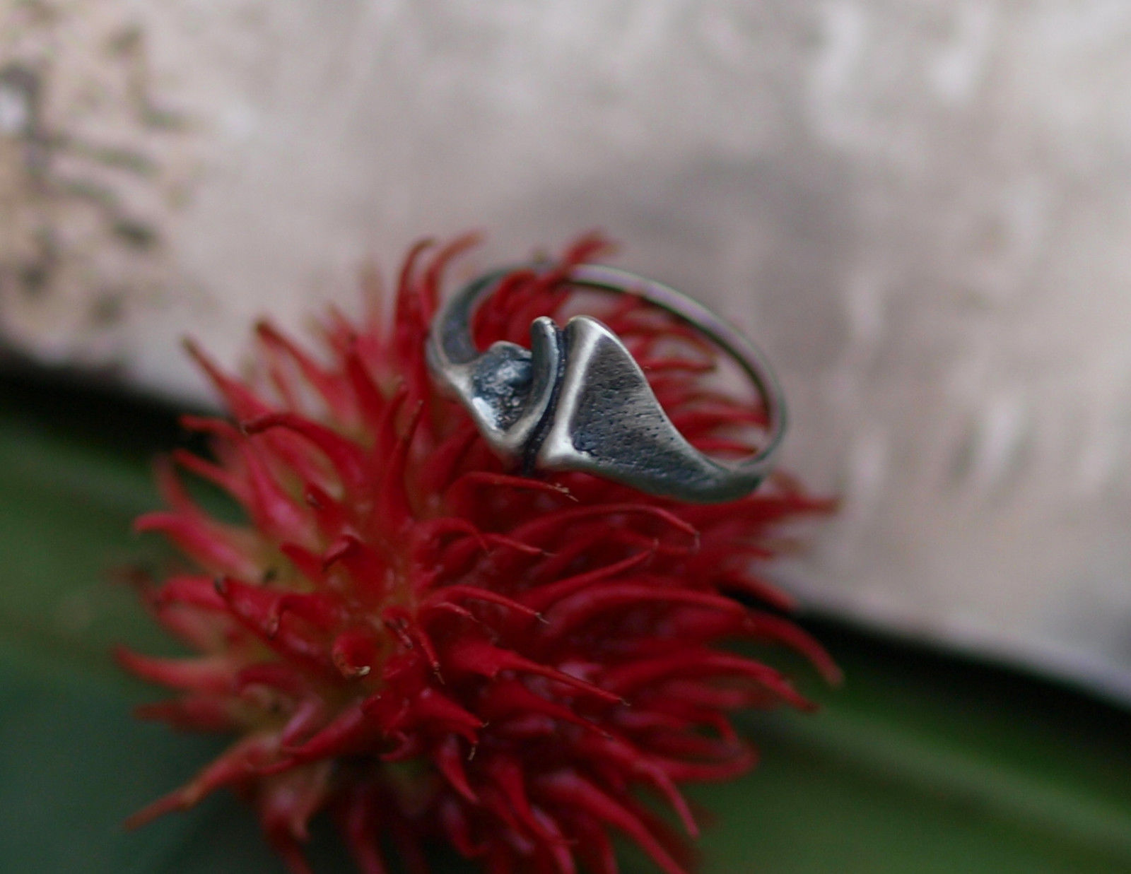 Designer Ring Silber 925 organische Form gefaltet geschwärzt