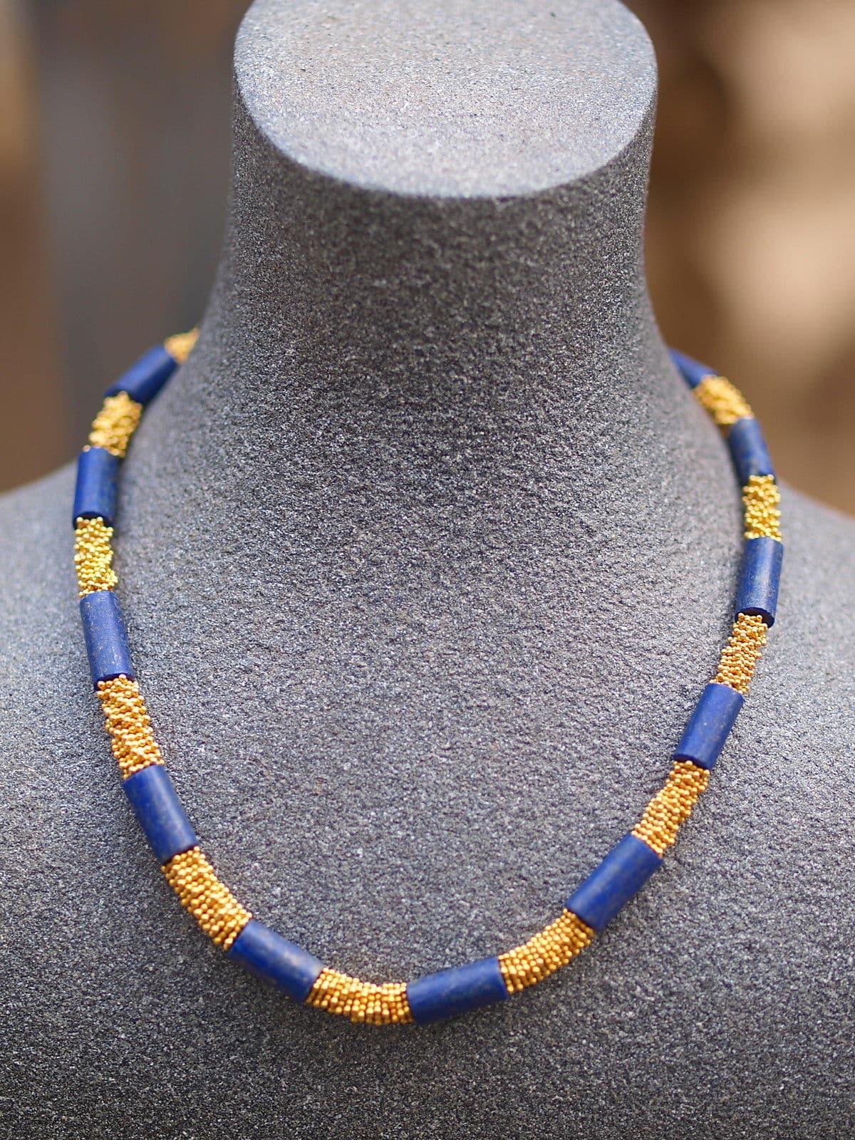 Leguan Kette Silber 925 vergoldet Lapis Lazuli