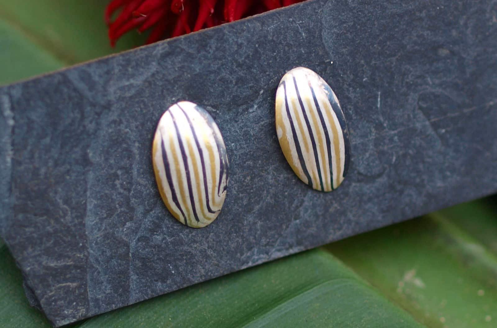 Mokume gane Ohrstecker Silber 925 Gold 900 Palladium 500 oval gestreift Unikat