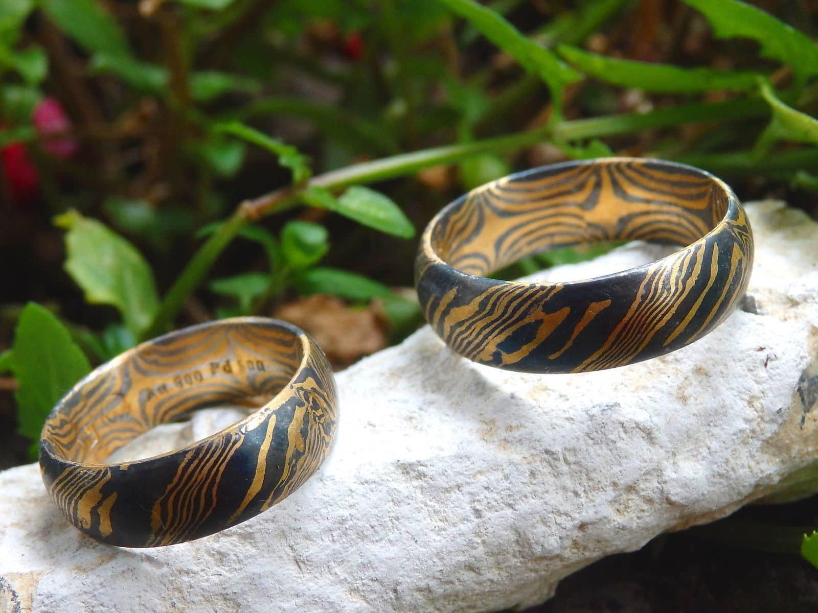 Trauringe Mokume Gane Gold 900 Palladium 500 1 Paar