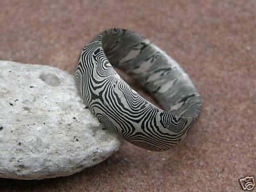 Trauringe Mokume Gane Palladium 500 Silber 925 Unikat