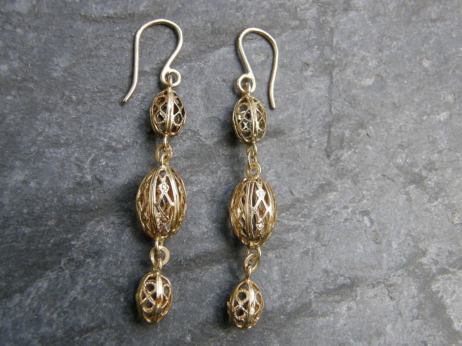 Unikat Ohrringe Ohrhänger Gold 750 filigran Handarbeit