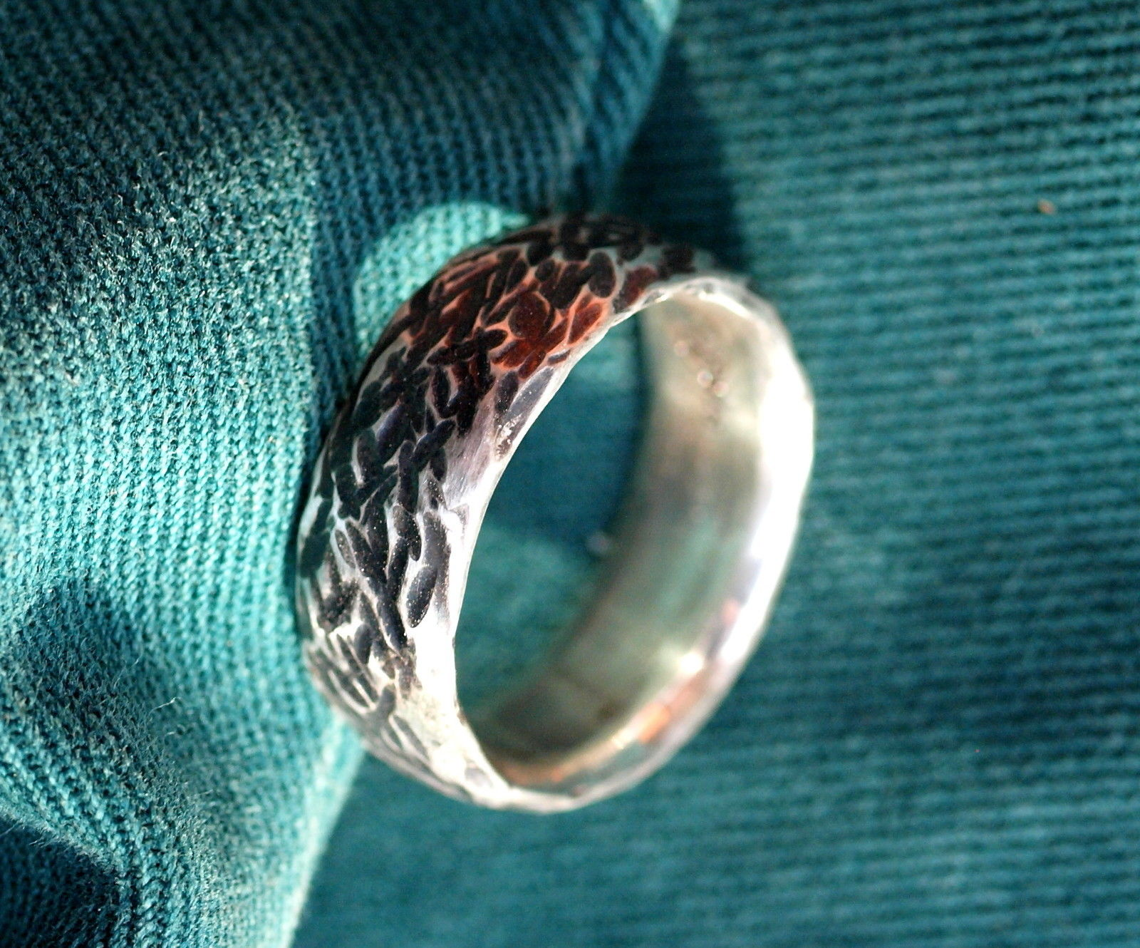 Unikat Ring Silber 925 grob geschmiedet mit Strukturen