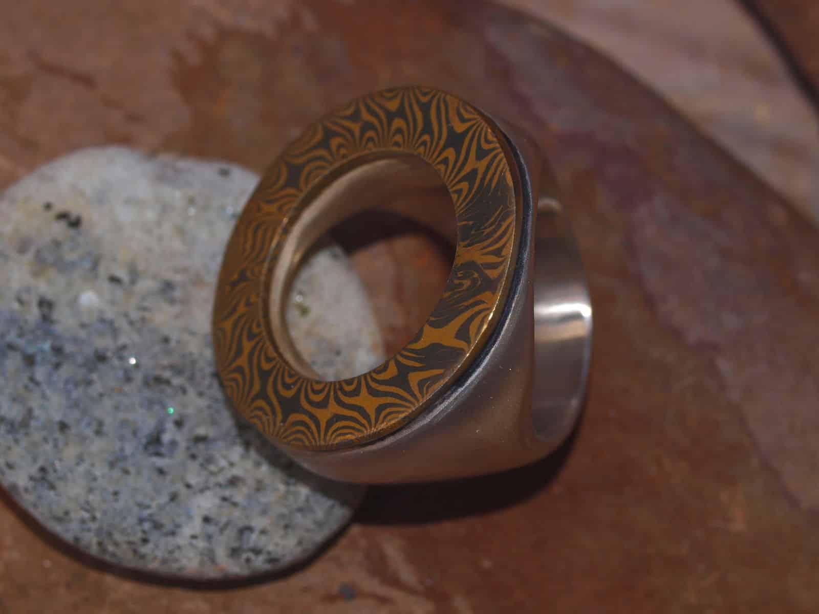 Unikat Ring Silber mit Mokume gane Gold Palladium Kreis