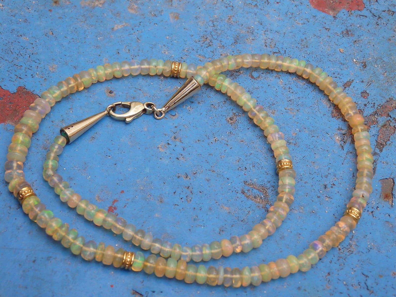 Collier Kette Opal Gold 900 Unikat