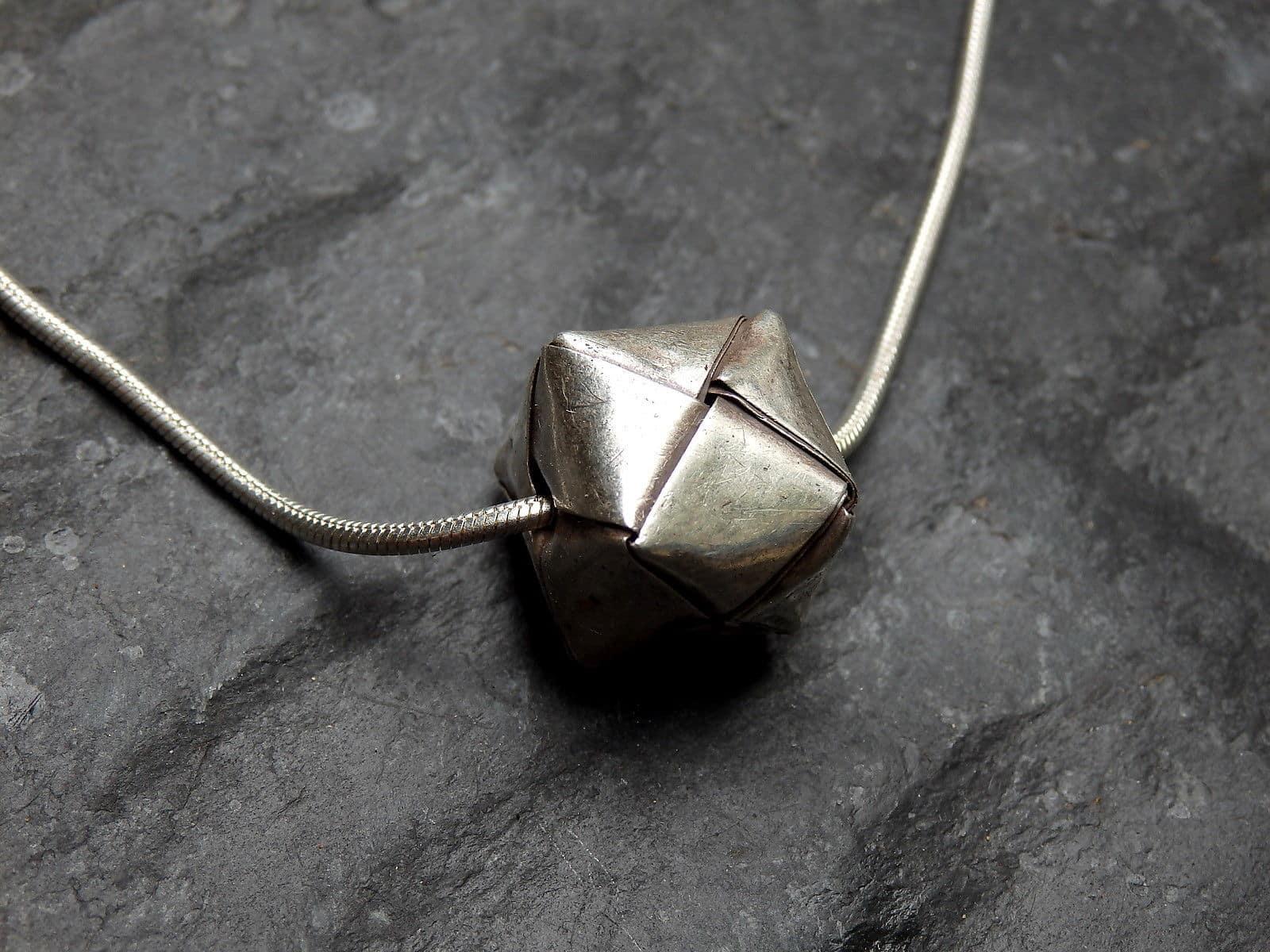 Designer Kette Silber 925 Anhänger Würfel gefaltet