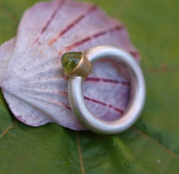 Designer Ring Silber 925 Gold 750 Peridot 53
