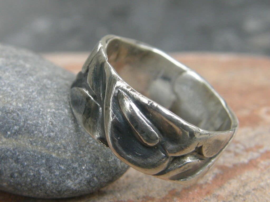 Designer Ring Silber 925 Muster floral tlw geschwärzt