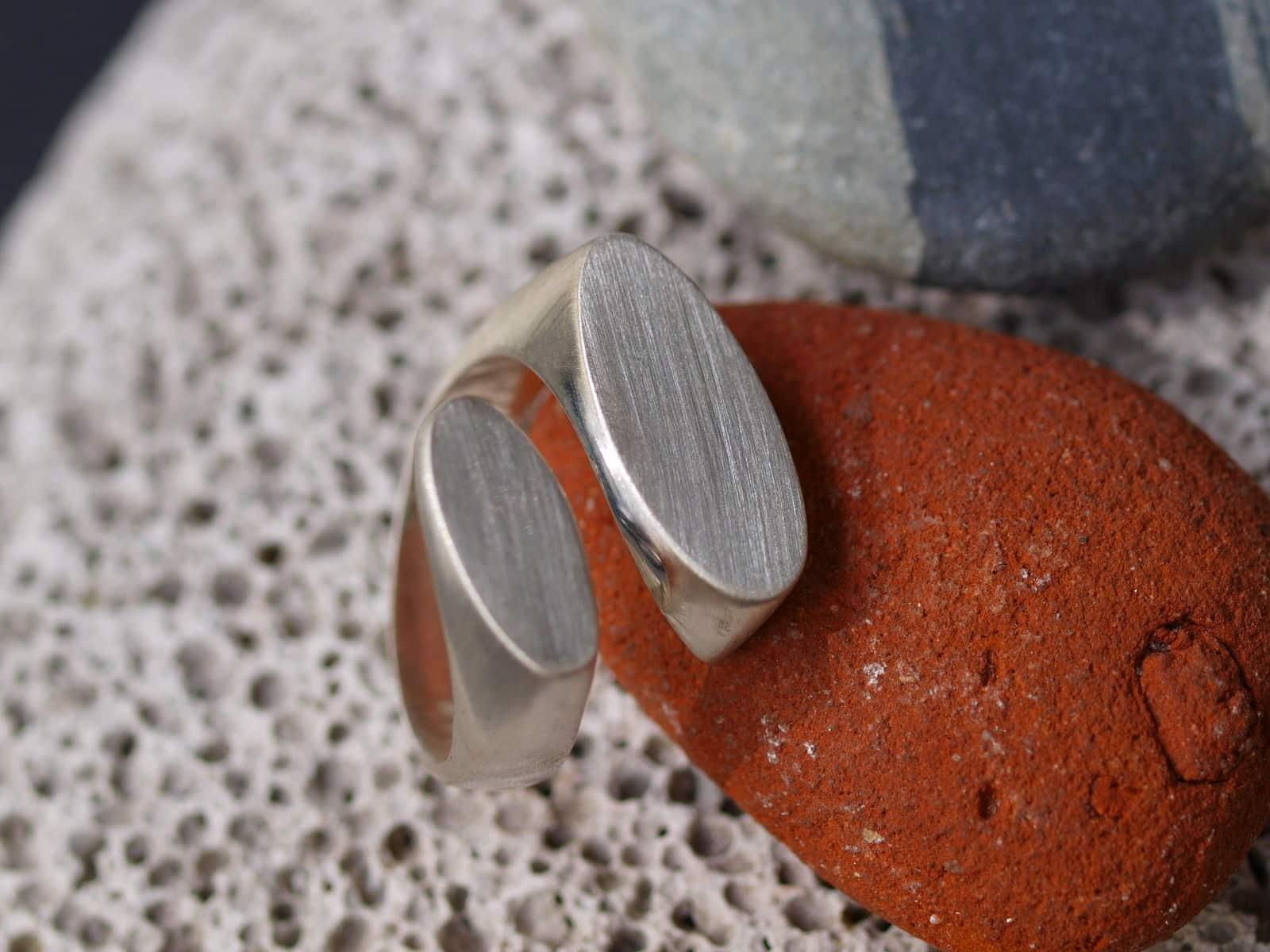 Designer Ring Silber 925 Oval Fläche oval offen matt