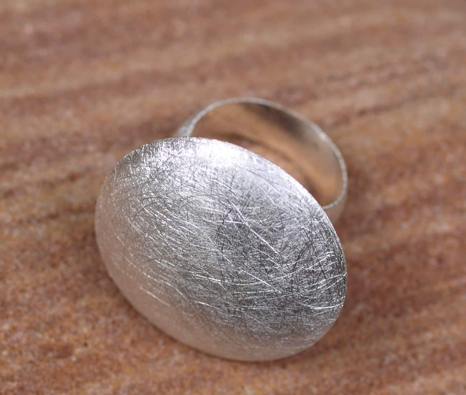 Designer Ring Silber 925 eismattiert Kreis Linse 57