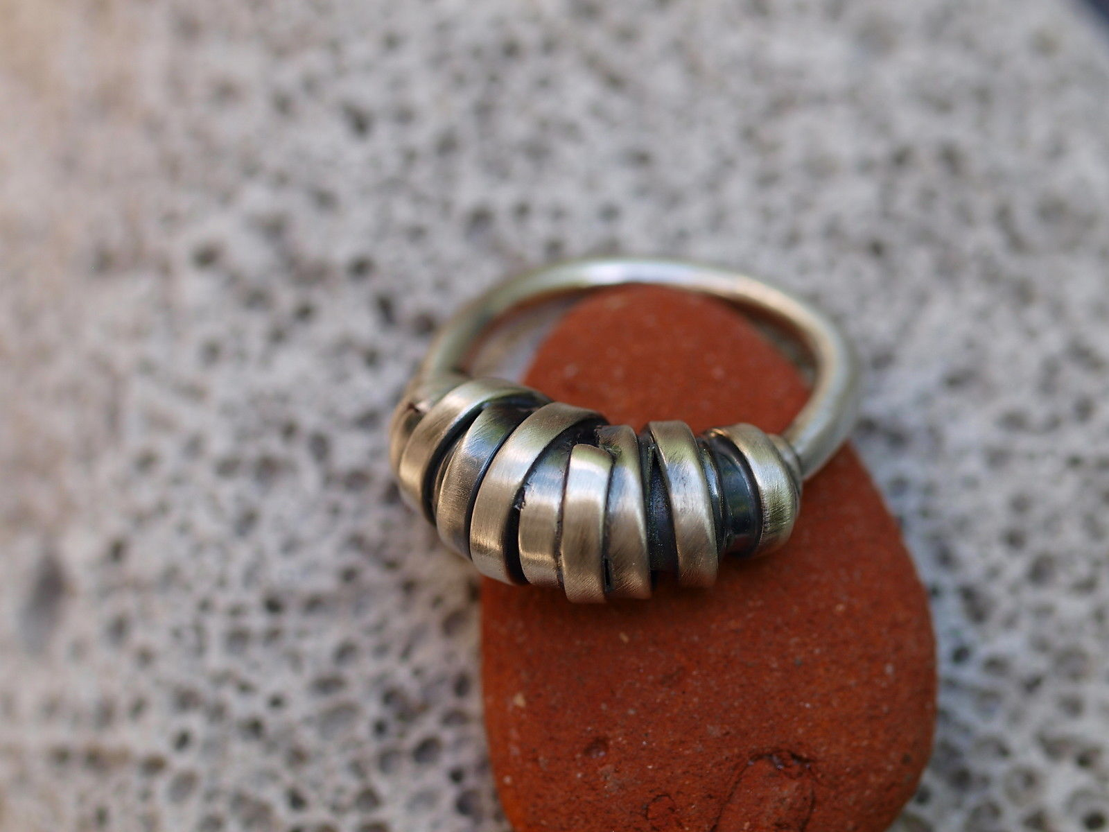 Designer Ring Silber 925 gewickelt matt geschwärzt 59
