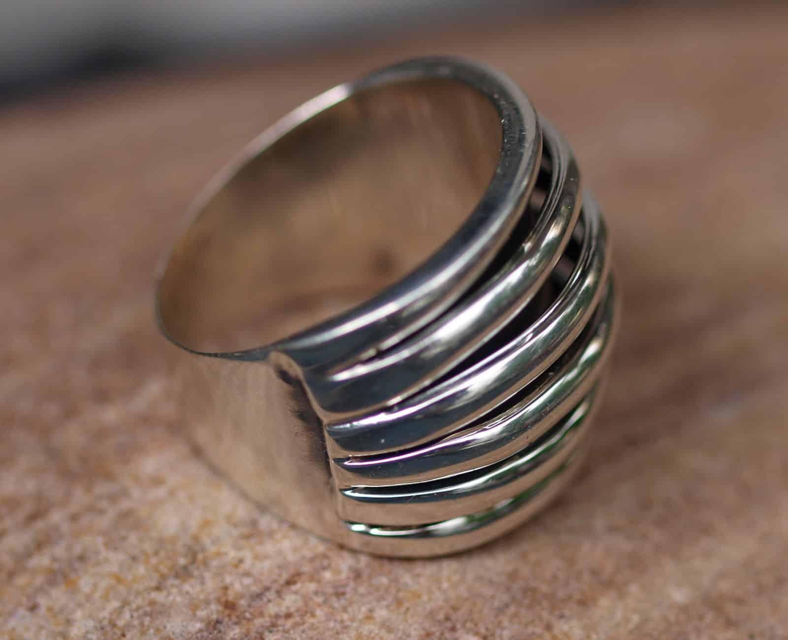 Designer Ring Silber 925 poliert 6 Rippen 57