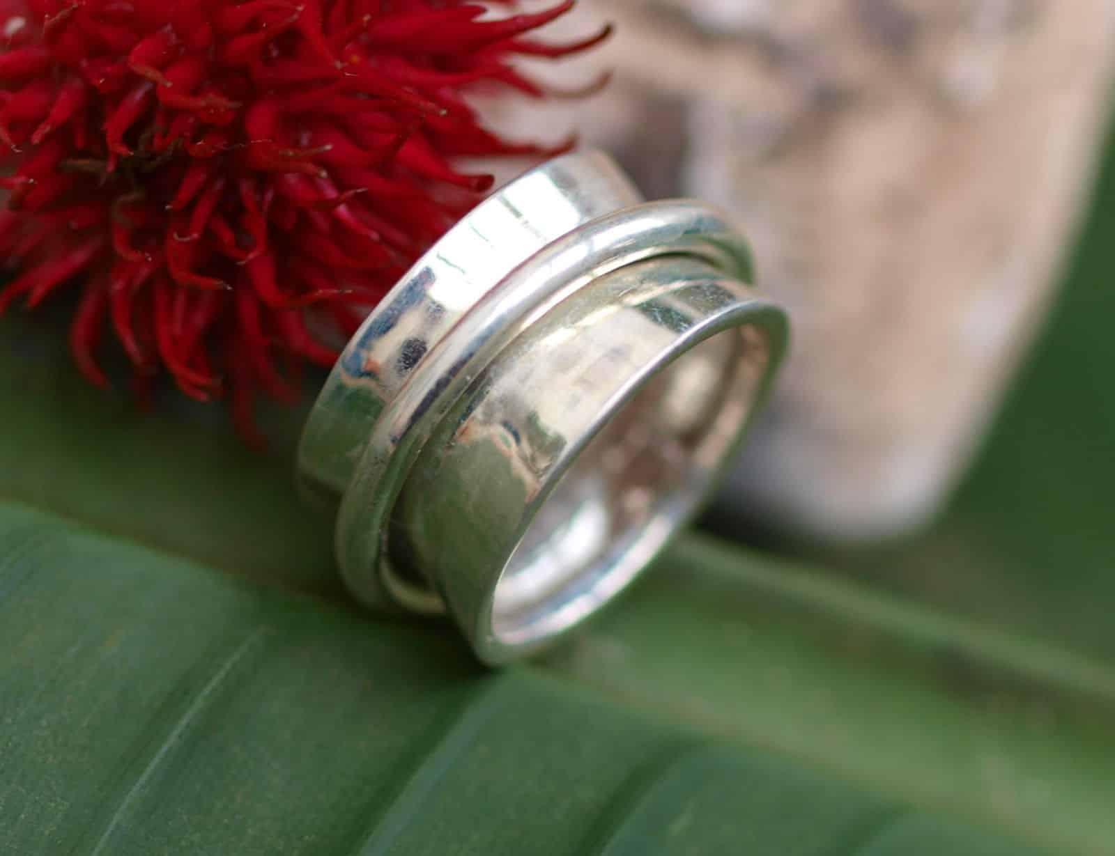 Designer Ring Silber 925 poliert Klingelring