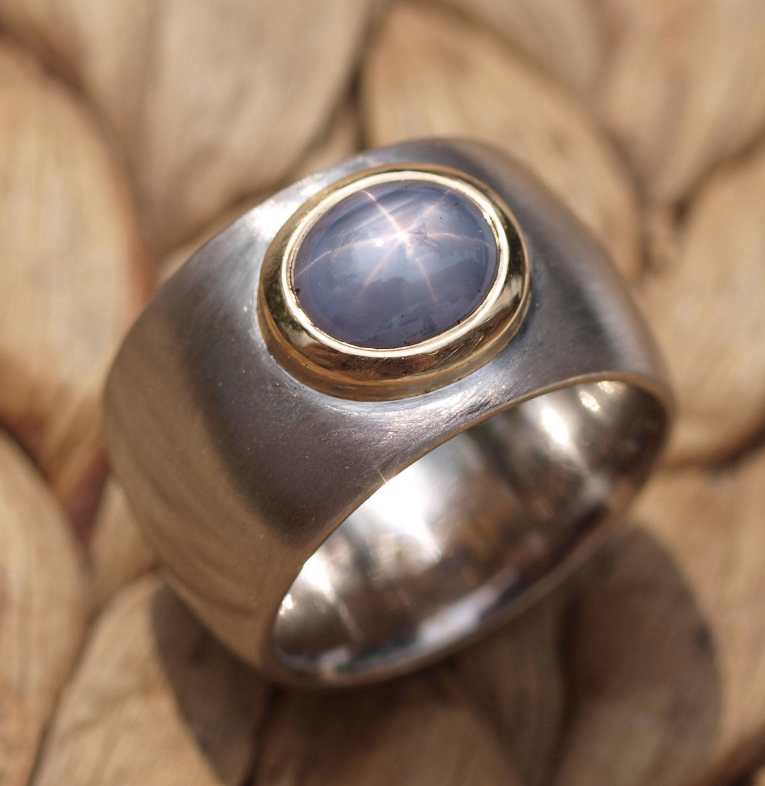 Ring Platin 950 Gold 750 Stern - Saphir Sternsaphir Ceylon 2,7 ct Unikat