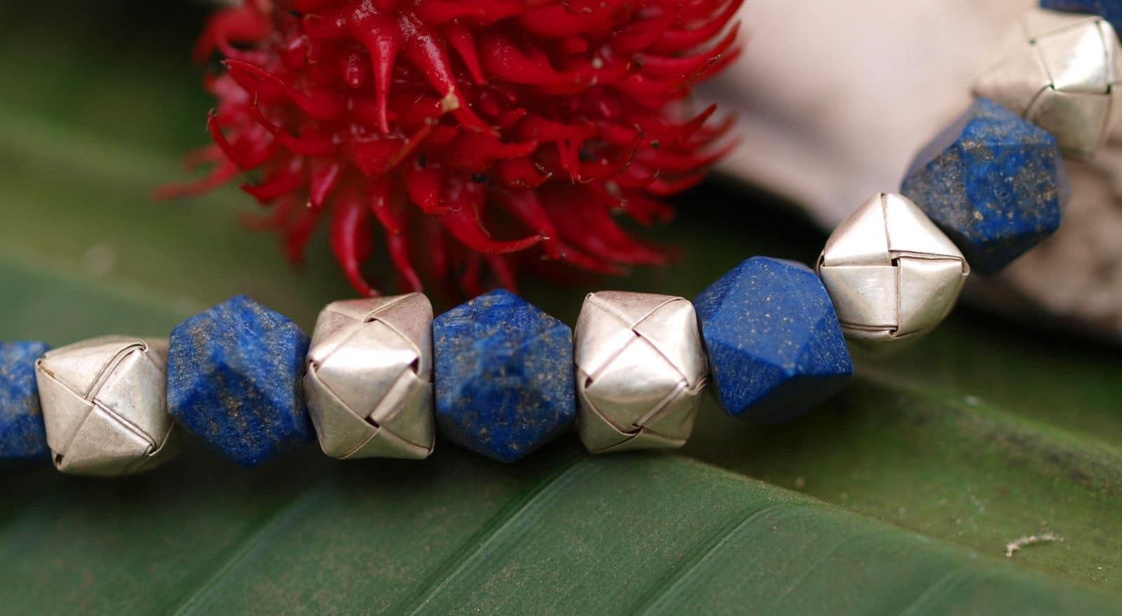 Unikat Kette Silber 925 Lapis Lazuli Würfel gefaltet Designerverschluss