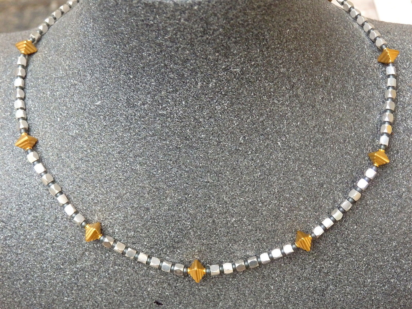 Unikat Kette Silber 925 facettiert Oktaeder vergoldet Hämatit