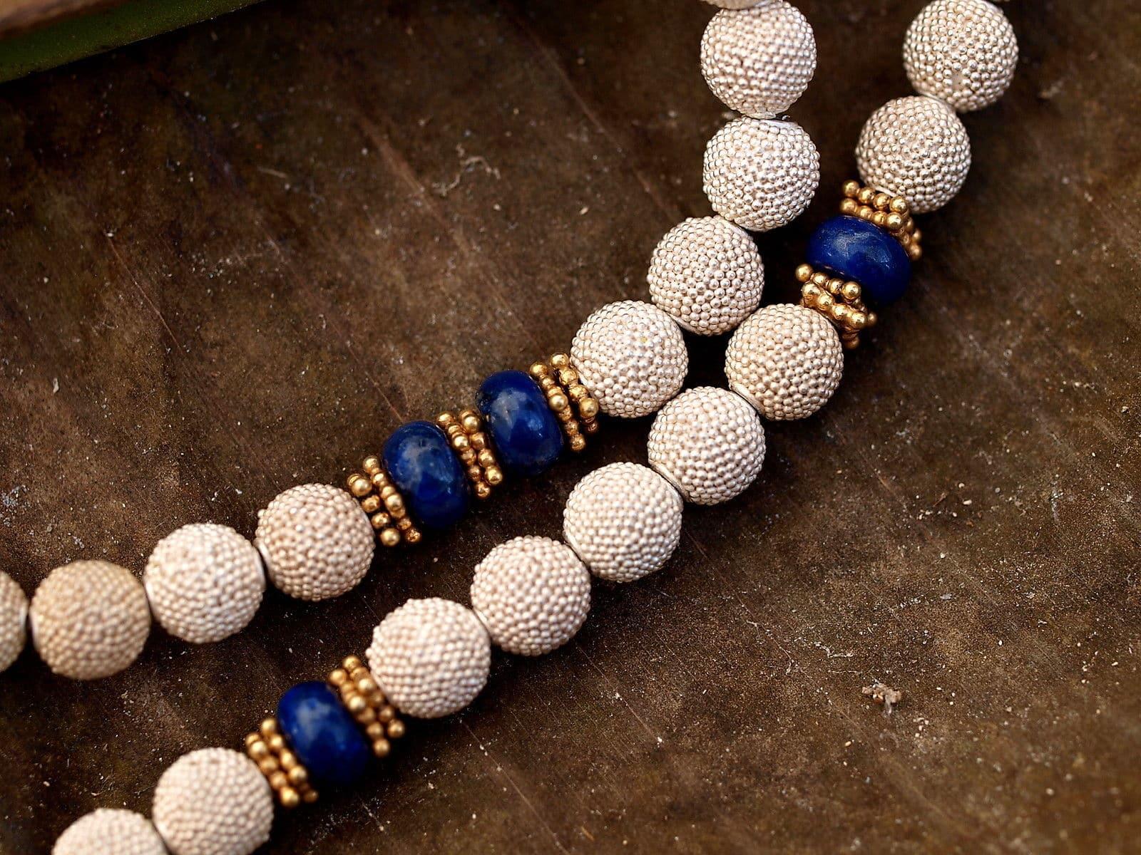 Unikat Kette Silber 925 tlw vergoldet granuliert Kugel Lapis Lazuli Hämatit