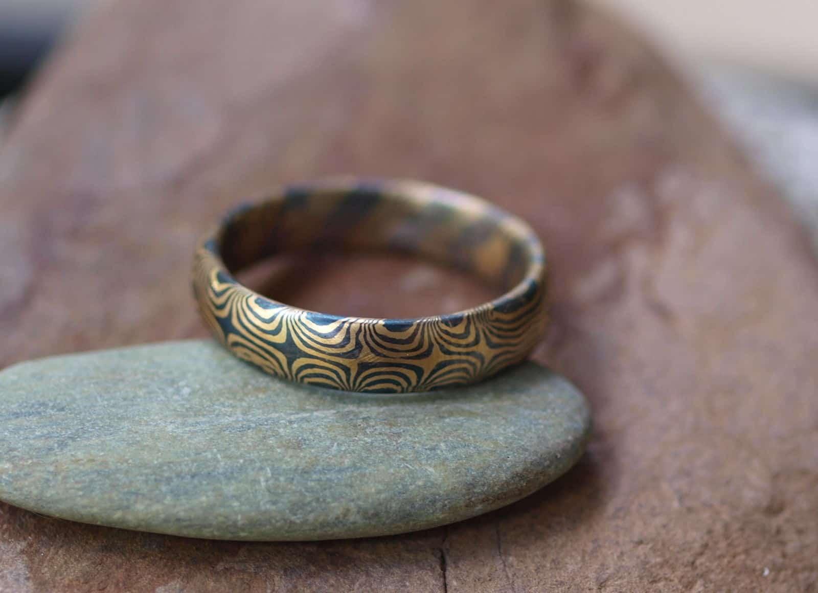 Unikat Ring Mokume gane Gold 900 Palladium 500 Sternmuster
