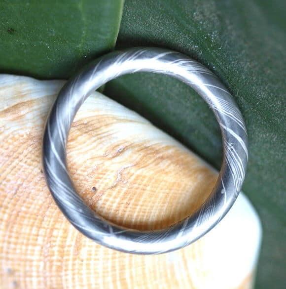 Unikat Ring Mokume gane Palladium 500 Silber 925 Holzmaserung 53