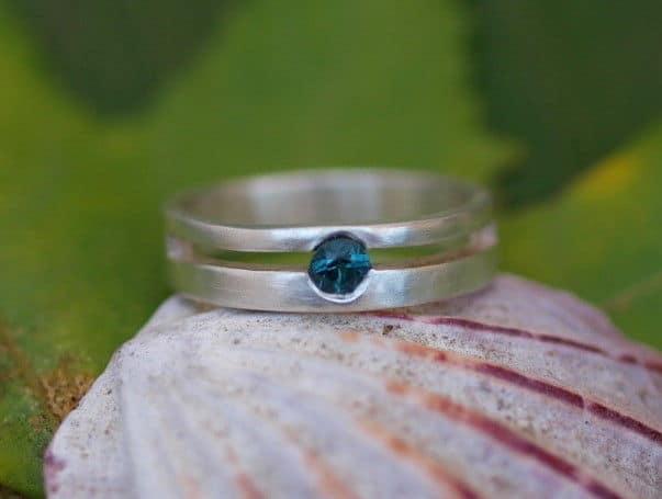 Unikat Ring Silber 925 Turmalin petrol blau-grün 56