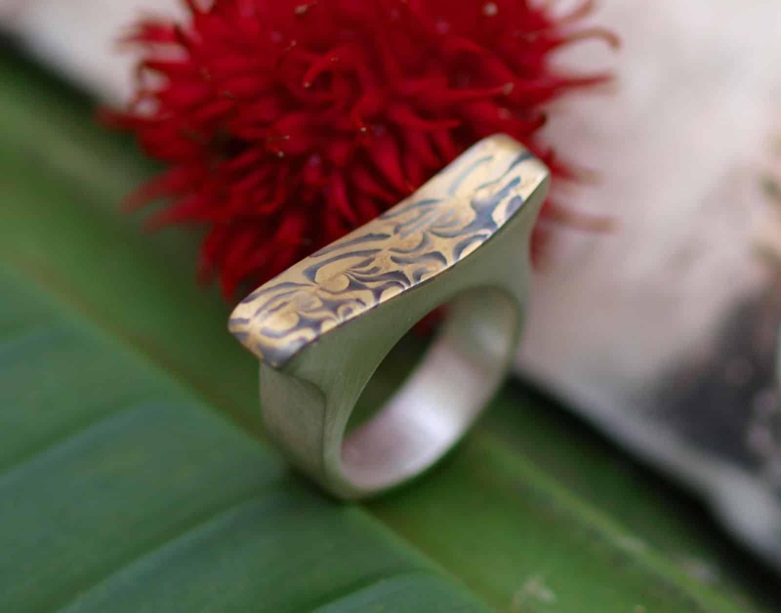 Unikat Ring Silber 925 mit Mokume Gane Gold 900 Palladium 500 geschwungen