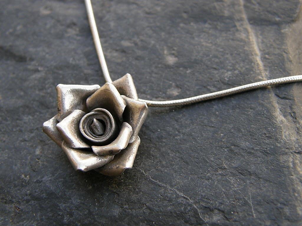 Designer Kette Anhänger Silber 925 Rose Blume